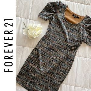 NWT Forever 21 Blue/Olive Fitted Dress